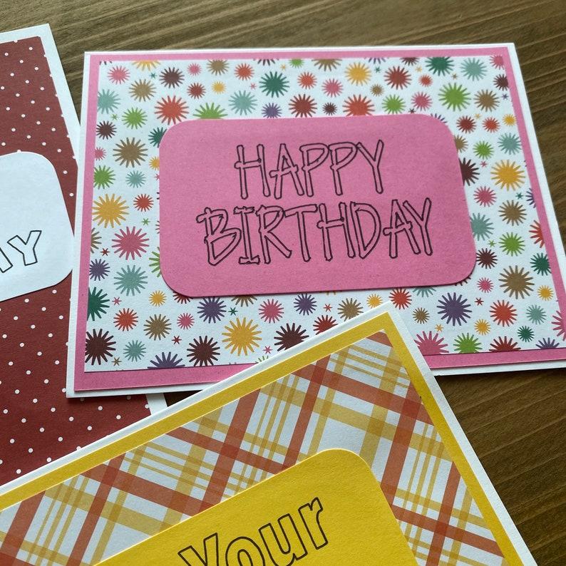 Homemade Gender Neutral Birthday Cards Assorted Blank Birthday Cards Set of 5 Happy Birthday Cards With Envelopes Handmade
