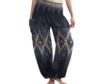 Elastic Waist Clothing Beach Women Thai Harem,Aladdin Pants Boho Strenchy Pants A100969 Aztec Ethnic Print