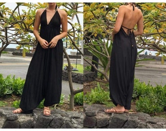 Party Jumpsuit Attached Vest Jumpsuit Vintage Jumpsuit Black Boho Jumpsuit Evening Jumpsuit Bohemian Jumpsuit 90/'s Black Jumpsuit