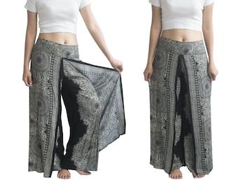 Slit Pants Wrap pants Boho Beach pants Hippie Flare pants Vacation pants Open Leg Pants Bohemian Wrap Around pants Palazzo Trousers