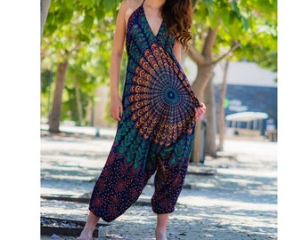 One Size Romper,Bohemian clothing,Jumpsuit,Festival romper,boho clothing,Hippie romper, Comfy pants, Free Shipping