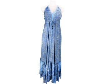 Boho Ruffle Dress Hippie festival comfy dress, Bohemian maxi dress,Silk boho dress
