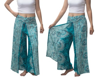 Boho Wrap pants, Beach pants, hippie vacation pants, Open Leg Pants, bohemian wrap around pants, boho open pants
