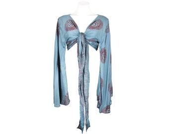 Boho Self Tie Wrap Crop Top/Bell Sleeve Crop Top/Tie front bell sleeve top/festival crop top/front tie front or back crop/