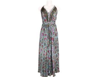 Boho Maxi Dress with Sexy Open Back/Hippie comfy dress/Bohemian maxi dress/Silk boho dress/