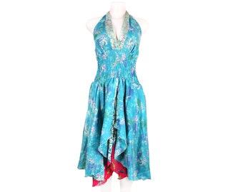 Boho Dress/Vintage Boho Silk Dress/Hippie Bohemian Dress/Boho Silk Dress/Halter Neck Dress/Evening Dress/ Summer Dress/Beach Cover up