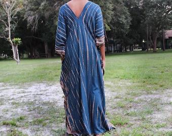 Kaftan maxi dress,Caftan dress,Hand tie dyed , Summer party dress, loose dress,Cocktail party kaftan,Festival wear,One Size Caftan