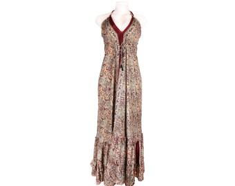Bohemian Dress /Hippie Halter Dress/Bohemian Maxi Dress/Vintage Sari Sundress/Open Back Dress/Silk/Dress/Women's Clothing/Boho/Comfy/