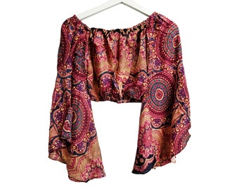 Bohemian Crop Top for Women, Belly Dance  Crop Top Blouse, festival clothing, Festival crop top, Long Sleeve Tops,