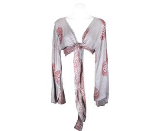Self Tie Wrap Crop Top/Bell Sleeve Crop Top/Tie front bell sleeve top/festival crop top/front tie front or back crop/