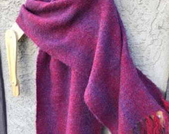 Red and Purple shawl, Handwoven red shawl, Alpaca Shawl, Oversize Scarf,