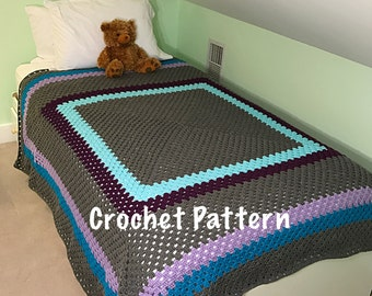 Crochet Pattern - Giant Granny Square Crochet Blanket