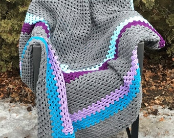 Grey, Turquoise, and Purple Giant Granny Square Crochet Blanket