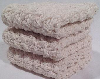 Cotton Crochet Washcloth Set - Natural