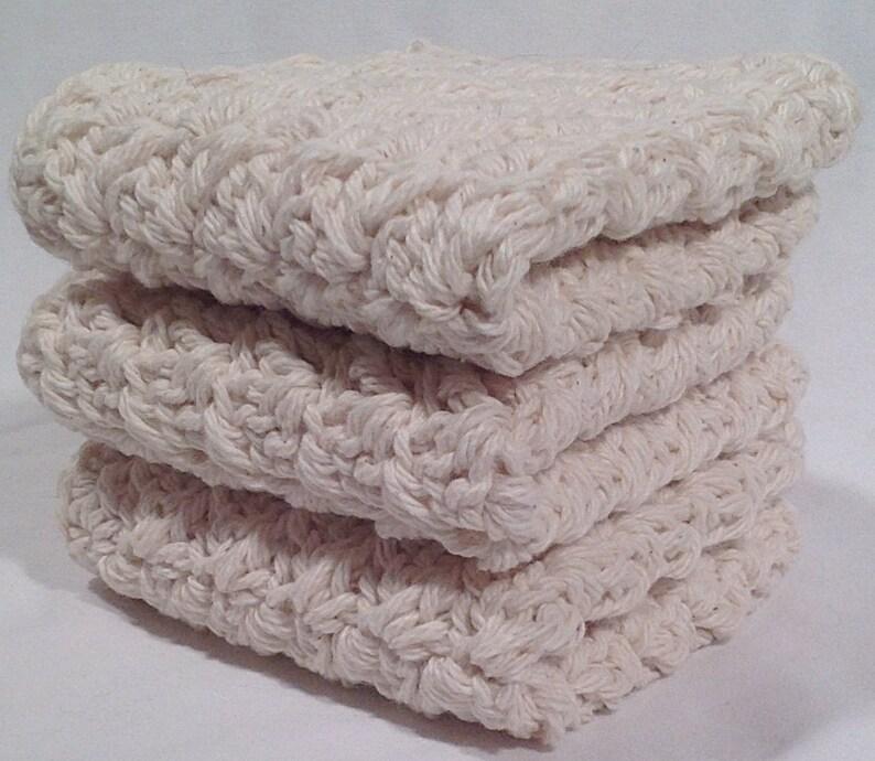 Cotton Crochet Washcloth Set  Natural image 0