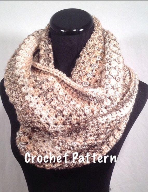 Crochet Pattern Oatmeal Striped Infinity Crochet Scarf Etsy