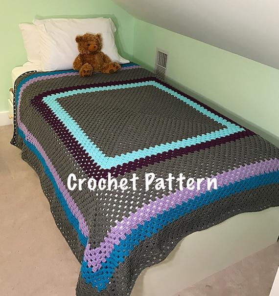 Crochet Pattern Giant Granny Square Crochet Blanket Etsy