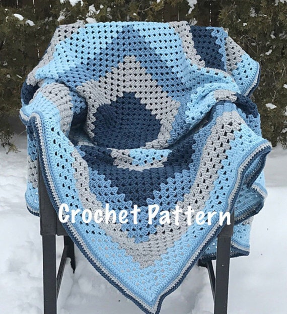Crochet Pattern Blue And Grey Giant Granny Square Crochet Etsy