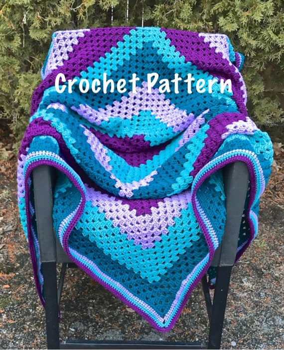Crochet Pattern Purple And Teal Striped Giant Granny Square Etsy