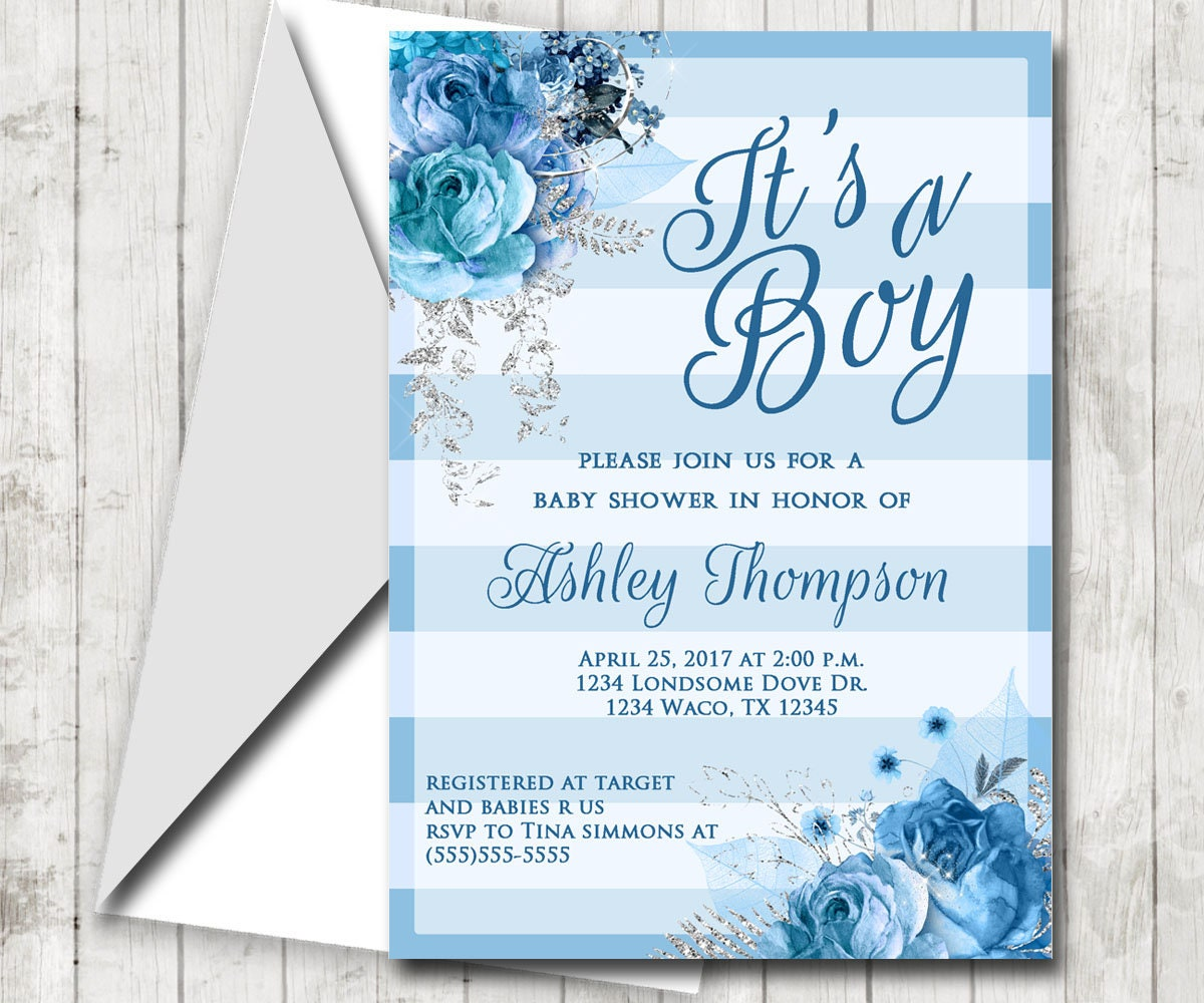 Boy Baby Shower Blue Rose Invitation Blue and Silver   Etsy
