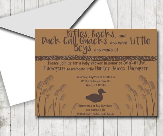Duck Hunting Theme DIY Shower Baby Shower Invitation   Etsy