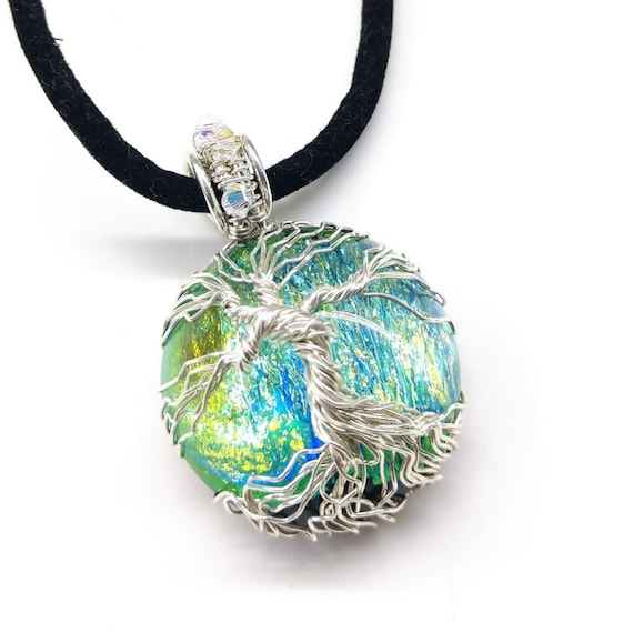 Sterling silver and dichroic glass tree pendant