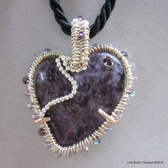 Purple Charoite Stone Heart Necklace Wire Wrapped Silver and   Etsy