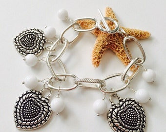 Hearts & White Jade Bracelet.