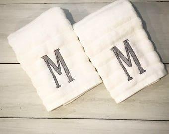 Monogrammed Hand Towels - Set of 2