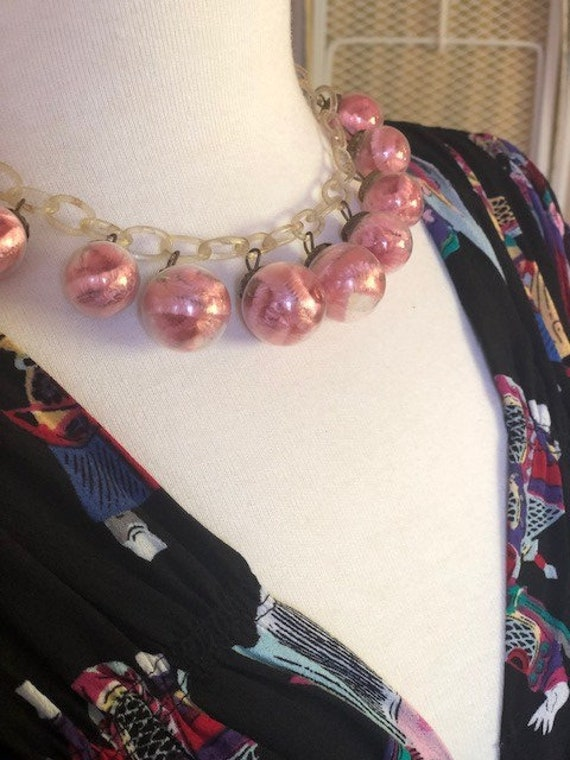 1940s Novelty Necklace, Glass Ball Celluloid Chain