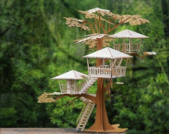 """Super Deluxe Tiki Tree House Model Kit 17"""" Tall, Laser Cut Parts, A Unique Gift, Architectural Design"""