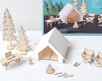 Camping Set Model Kit, Miniature Tent, Forest, The Great Outdoors