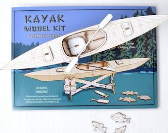 Kayak Model Kit, Miniature Kayak and Accessories, Fishing, Great Outdoors