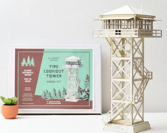 """Fire Lookout Tower Model Kit, 15"""" tall, Fun To Build"""