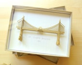 St Johns Bridge Ornament, Portland Oregon, No Assembly Required, Hand Painted Gold and Hand Assembled