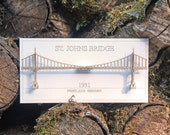 Architectural Model of St Johns Bridge, Laser Cut Card, No Assembly Required