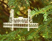 Steel Bridge Ornament, Portland Oregon, Hand Painted and Hand Assembled, Silver