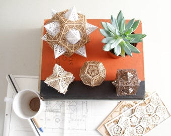 Sacred Geometry Model Kit, 3 Small Orbs, A unique Gift of Geometric Design, Lasercut Ornaments, Architect's Design
