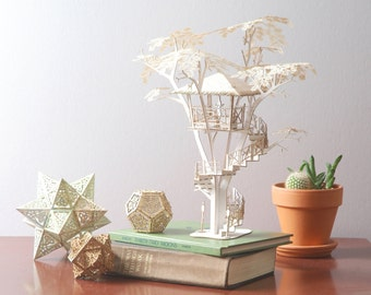 """Tiki Tree House Model Kit 12"""" Tall, Laser Cut Parts, A Unique Gift, Architectural Design"""
