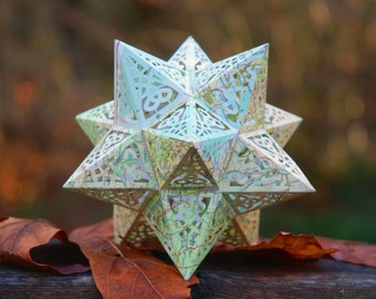 Earth Star Model Kit made from Recycled Vintage Maps, Geometric Design Stellated Dodecahedron, Educational Gift
