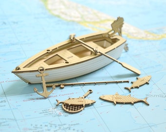 Fishing Boat Model Kit, Laser Cut, Includes Boat, Fish and Accessories