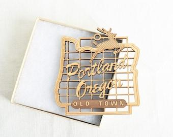 Portland Oregon Sign, Wood Ornament,  Unique Gift, Souvenir
