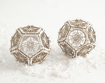 Laser Cut Model Kit makes 2 Snowflake Dodecahedron Ornaments, Unique Gifts, DIY