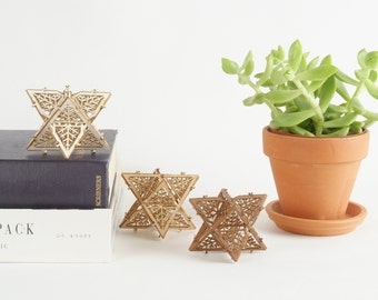 Model Kit of 3 Dual Tetrahedrons, Sacred Geometry, Star of David,  DIY Gift, Laser Cut, Unique Gift