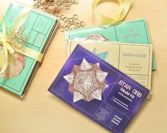 Gift Set, 3 Sacred Geometry Model Kits, Star Orb, Rhombi & Earth Star, DIY Projects, Unique Gift, Laser Cut, Build It Yourself