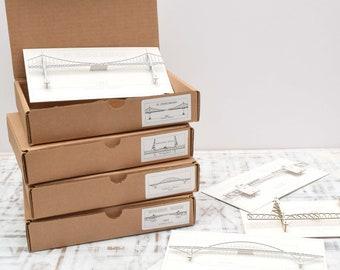 3D Bridge Cards Select 4 of Portland Oregon Bridges - laser cut models - no assembly required, St Johns, Fremont, Broadway, Steel, more