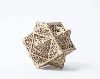DIY Model Kit Cube Octahedron Dual, Sacred Geometry Laser Cut Gift