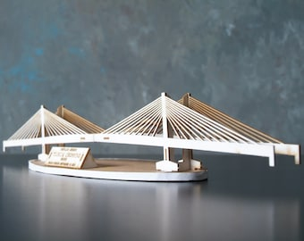Laser Cut Model Kit of Tilikum Crossing Bridge in Portland Oregon, Bridge of the People, Architectural Model