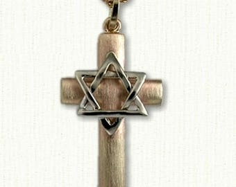 Star of david cross etsy custom star of david cross available in 2 sizes in all metals beautiful cross aloadofball Gallery