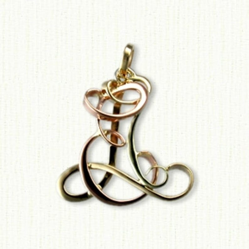 Custom /'LEA/' Initial Monogram PendantPin Available In All Sizes and Metals Makes a Beautiful Gift!